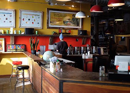 ブルックリンにあるカフェの内観