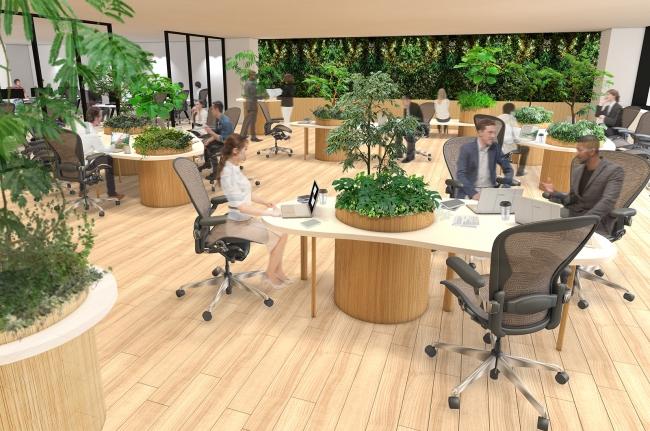 オリジナルビルトインプランターを導入した職場環境のイメージ