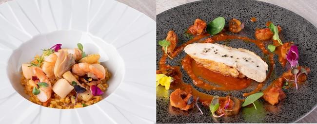 """(左)「リカバリーコース」シーフードリゾット バレンシア風 """"アロス・メロッソ"""" (右)「リカバリーコース」鶏むね肉とポルチーニ茸の猟師風煮込み""""カチャトーラ"""""""
