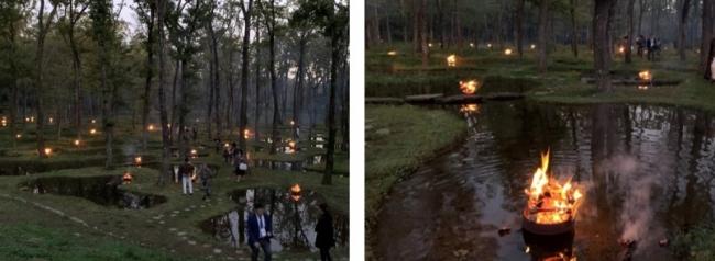 夕暮れの下、水庭に火が灯り幻想的な雰囲気に包まれました