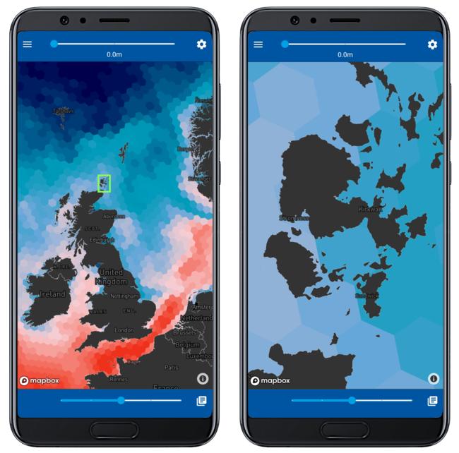 地図を拡大すると、ユーザーは自身の漁場の数キロ圏内の海洋データにアクセスすることができ、縮小すると周辺海域の環境データを簡単に確認できます。