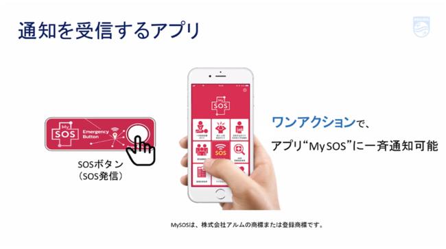 近隣の方々に救援を依頼するスマホアプリ「MySOS」と連携したIoTデバイス フィリップス・ジャパン様