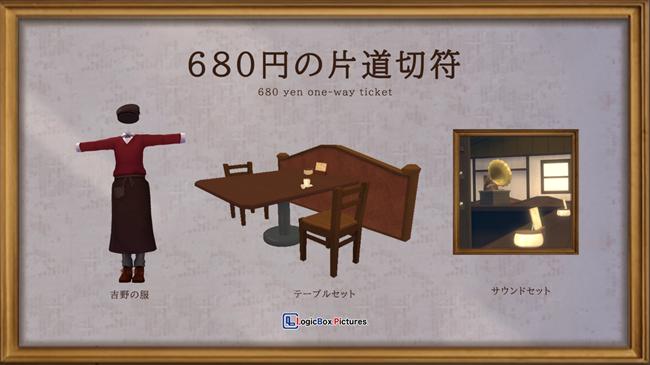 写真左から吉野の服、テーブルセット、サウンドセット
