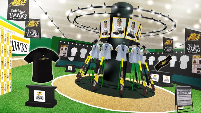 店内は「HAWKS STORE」同様、球場をイメージしたデザインになっており、中央には選手たちが円陣を組んだ姿をイメージした展示コーナーや選手の等身大パネルなども用意。記念撮影ができる写真ゾーンや取材用のスペースも設けられています。画像は開発中のものです。