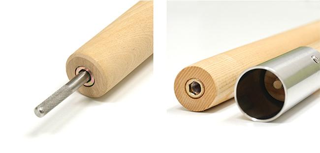先端にはロープ抜け防止用にローレット加工が施されています。ネジによる締め付け式でしっかりと連結が可能。