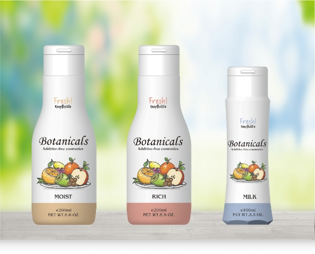 ※左から、化粧水Moist(200ml)、化粧水Rich(200ml)、乳液Milk(100ml) 各980円