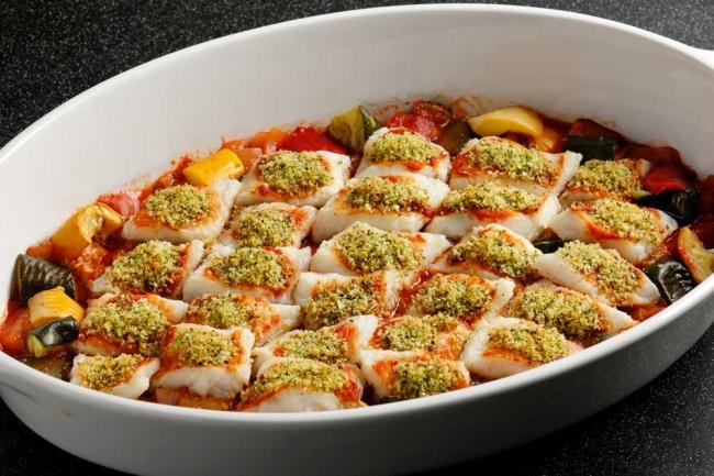 白身魚香草パン粉焼きとラタトゥイユ添え Grilled white fish herb bread crumbs and ratatouille