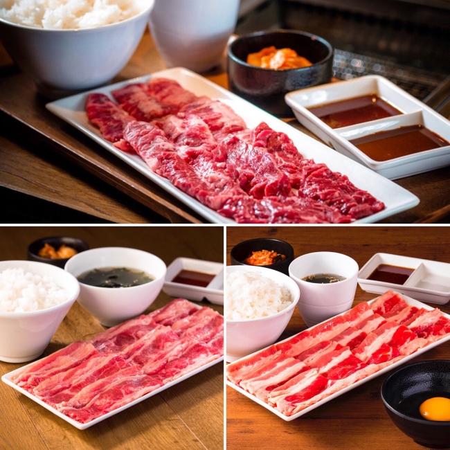 (上)匠カルビ&ハラミプレート (左下)バラカルビプレート (右下)牛すき焼肉プレート(生卵付) ※写真は200gの商品イメージです。ご提供する商品のグラム数により異なる場合があります。