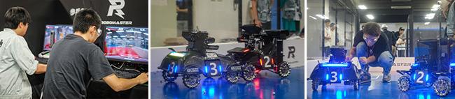 各チーム独自で開発したロボットで3対3の試合を行います。