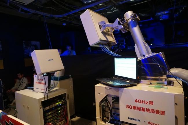 会場に設置されたNTT DOCOMOの5G装置