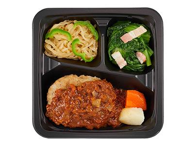プチデリカ商品一例:トマトと味噌の 煮込み風ハンバーグ