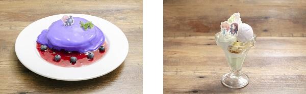 ▲マシュ・キリエライトのベリーパンケーキ/▲ロマニとダ・ヴィンチのグレープパフェ