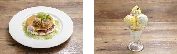 ▲ロマニ・アーキマンのビッグどら焼きプレート/▲ギルガメッシュとエルキドゥの パインキウイパフェ