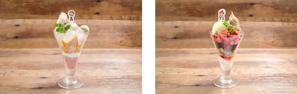 ▲麗日お茶子のほうじ茶パフェ(左)/ ▲切島鋭児郎のザクザクパフェ(右)