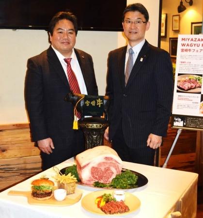 (株)WPJ高橋社長(左)と河野 宮崎県知事