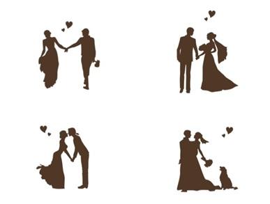 「チャペルで愛を誓うしあわせなふたり」のシルエット(4種)