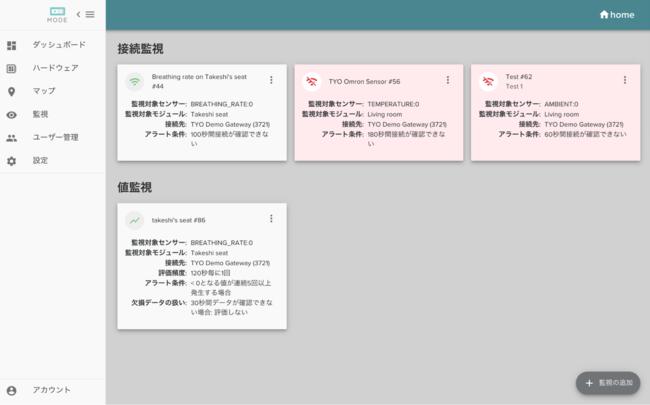 MODEセンサークラウドにおけるアラート機能実装イメージ図
