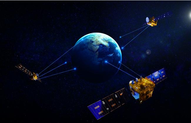 ワープスペースの「WarpHub InterSat」 小型光中継衛星群(イメージ)