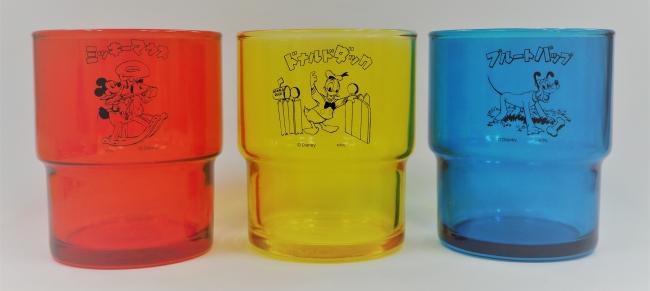 カラーグラス (左からミッキーマウス、ドナルドダック、プルートパップ) 各1,080円 (C)Disney