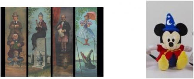 (左)ポストカード(ホーンテッドマンション壁画)195円/(右)ぬいぐるみ (Fantasia) 1,620円 (C)Disney
