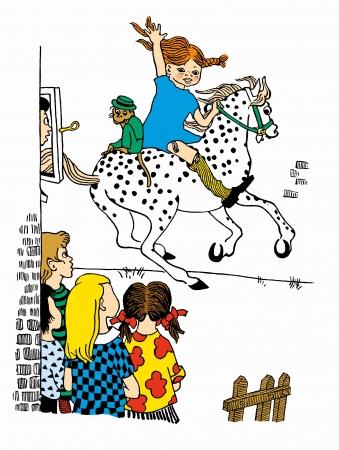 馬にのったピッピとサルのニルソンさん 1945年 イングリッド・ヴァン・ニイマン画(C)The Astrid Lindgren Company Ingrid Vang Nyman