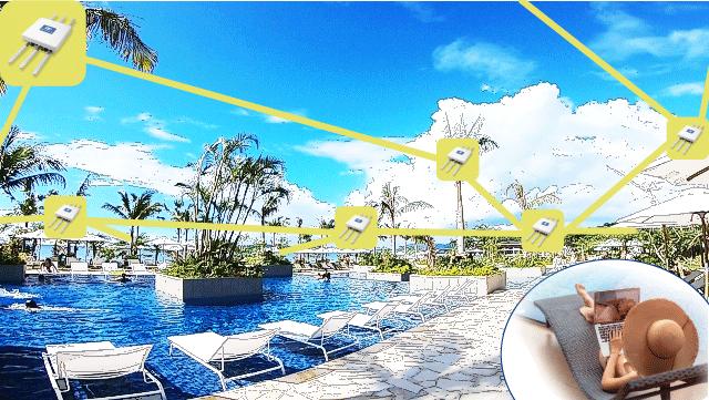 ※ワーケーション先のリゾートホテルの屋外キャンパスにおけるWi-Fi空間化のイメージ