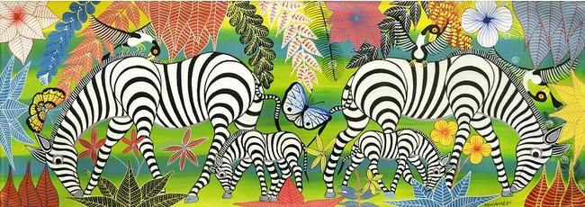 楽園の動物たち~シマウマの家族~グリーン