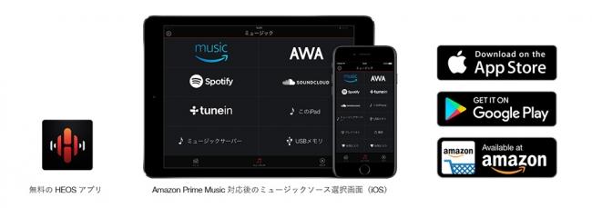 ネットワーク機能のHEOSアプリ