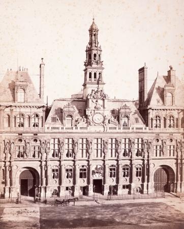 シャルル・マルヴィル《旧パリ市庁舎、ファサード》1871年頃