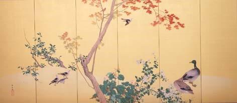 今尾景年《花鳥図屛風》(左隻)