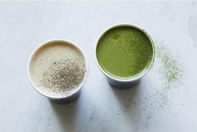ほうじ茶マロン(左)と抹茶ピスタチオ(右)