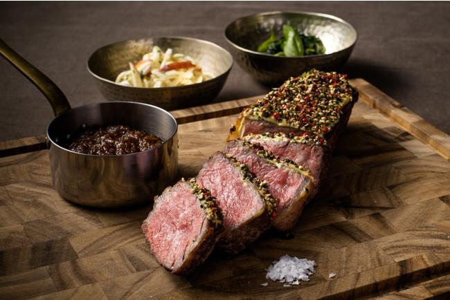 HOLIDAY'S SPECIAL MAIN DISH ホリデーペッパーステーキ with オニオンマーマレード クリームスピナッチ付き