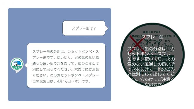 スプレー缶の分別の検索とEcho Sotでの表示