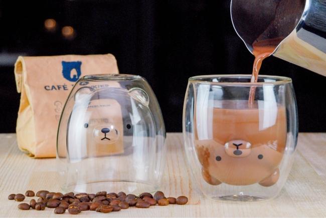 「くま」グラス × ホットコーヒー