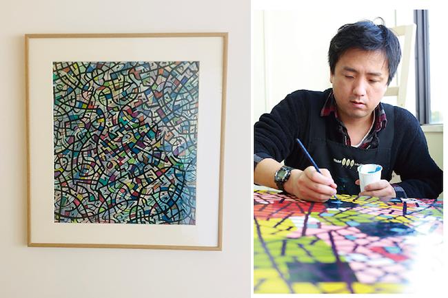 各部屋ごとに異なるアーティスト作品を展示  (写真は501号室)  本田 雅啓氏 作