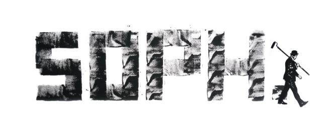"""今回の個展を記念しNick Walkerが描きおろした""""SOPH.""""のロゴ"""