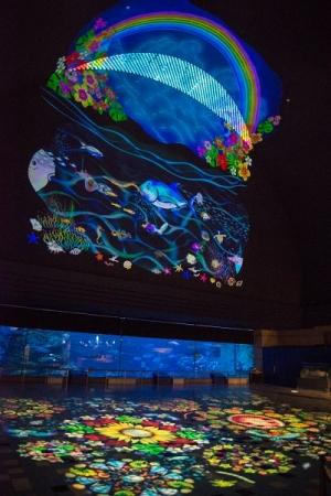 幻想的な空間につつまれる光の切り絵「海のパレット」