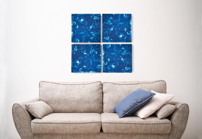 障害者福祉センター「はぁとぴあ原宿」で制作された藍染の採用イメージ