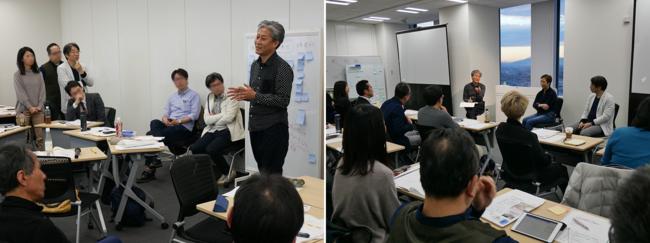 左:体験授業(昨年の様子)、右:教員・院生のトークセッション