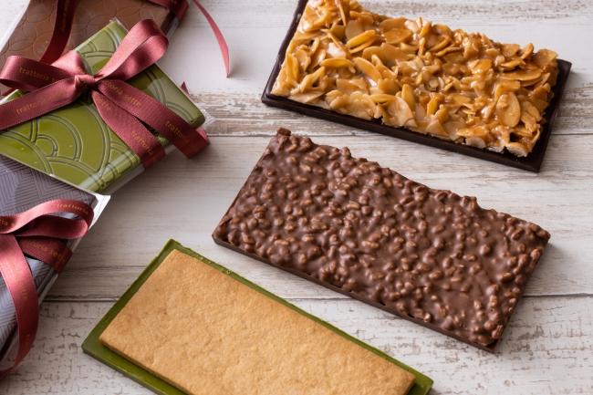 チョコレートバー(3種/ビターチョコレートとナッツ、抹茶チョコレートと米粉サブレ、ミルクチョコレートとライスパフ)