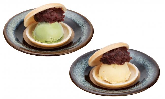 アイス小倉もなか(抹茶(左)・バニラ(右))
