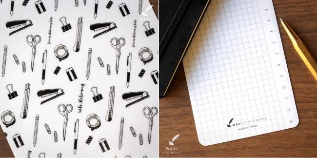 左:オリジナル文具イラスト 右:方眼罫と定規付き