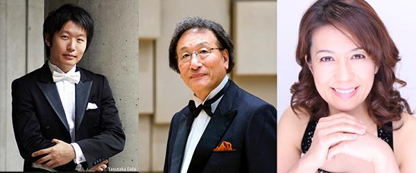 (左から)木許裕介(指揮)、古橋富士雄(合唱指揮)、野間春美(ピアノ)
