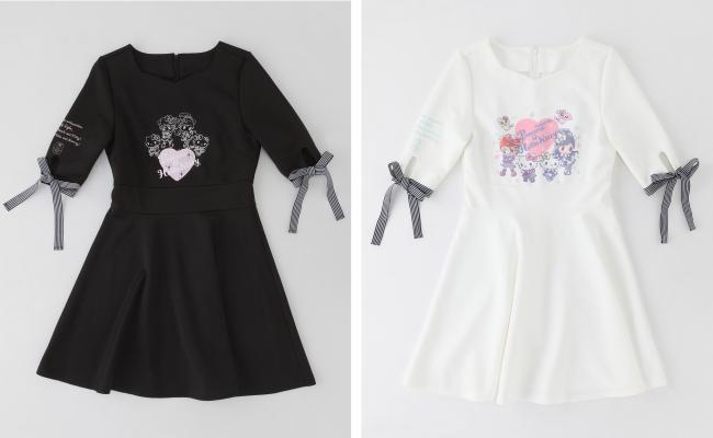 袖リボンワンピース ブラック/ホワイト 各8,200円