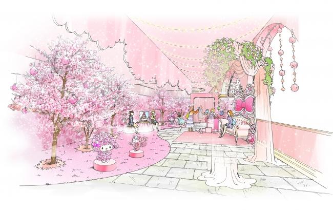 桜が一面に咲き溢れる新スポット「マイメロディガーデン」