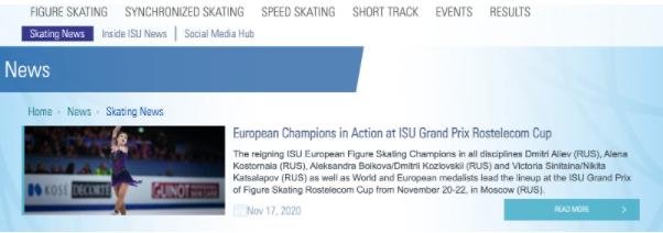 国際スケート連盟(こくさいスケートれんめい)のホームページ