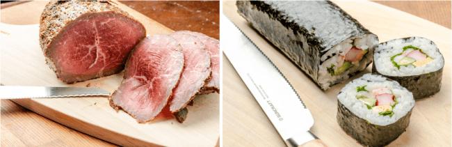 薄く切るほど美味しいローストビーフや潰れがちなのり巻きもきれいな断面に