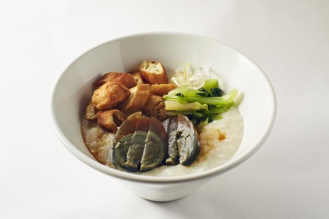 ピータンと青菜の中華粥