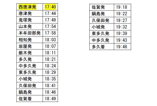 12月21日(土)・22日(日)時刻表1.