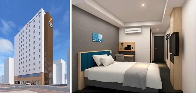 コンフォートホテル名古屋名駅南 外観(左) 1ベッドルーム(右) ※イメージ